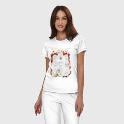 Пижама хлопковая женская Slipknot цвета белый — фото 2