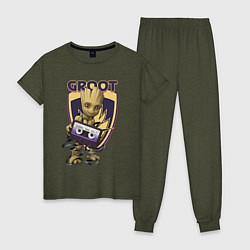 Пижама хлопковая женская Groot цвета меланж-хаки — фото 1