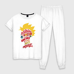 Пижама хлопковая женская Капитан Марвел цвета белый — фото 1