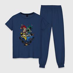 Пижама хлопковая женская Гарри Поттер цвета тёмно-синий — фото 1