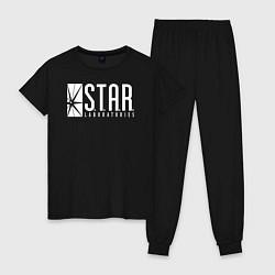 Пижама хлопковая женская S T A R Labs цвета черный — фото 1