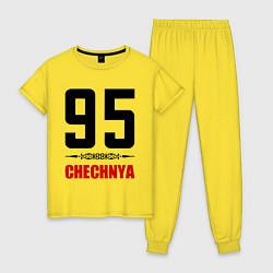 Пижама хлопковая женская 95 Chechnya цвета желтый — фото 1
