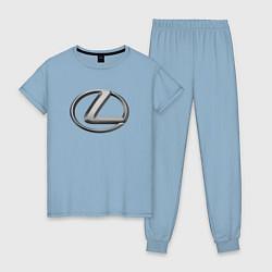 Пижама хлопковая женская LEXUS цвета мягкое небо — фото 1