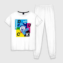Пижама хлопковая женская Donald Duck цвета белый — фото 1