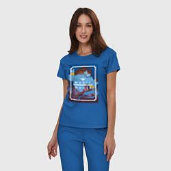 Пижама хлопковая женская Джинн цвета синий — фото 2