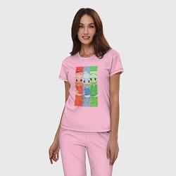 Пижама хлопковая женская Вилли, Билли, Дилли цвета светло-розовый — фото 2