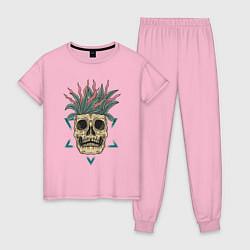 Пижама хлопковая женская Череп Моргенштерна цвета светло-розовый — фото 1