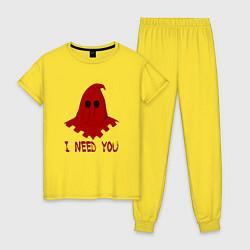 Пижама хлопковая женская Палач цвета желтый — фото 1