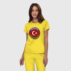 Пижама хлопковая женская Азербайджан цвета желтый — фото 2
