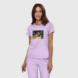 Пижама хлопковая женская Белоснежка поёт цвета лаванда — фото 2