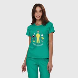 Пижама хлопковая женская Джесси Пинкман цвета зеленый — фото 2