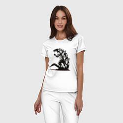 Пижама хлопковая женская Годзилла цвета белый — фото 2