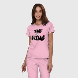 Пижама хлопковая женская Диего Марадона цвета светло-розовый — фото 2