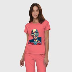 Пижама хлопковая женская Iron Maiden eddie цвета коралловый — фото 2