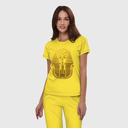 Пижама хлопковая женская Тутанхамон цвета желтый — фото 2