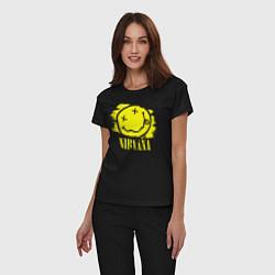 Пижама хлопковая женская Nirvana Smile цвета черный — фото 2