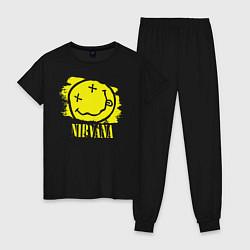 Пижама хлопковая женская Nirvana Smile цвета черный — фото 1