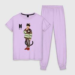 Пижама хлопковая женская BTS Cat цвета лаванда — фото 1
