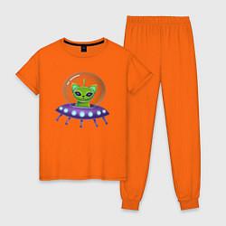 Пижама хлопковая женская Инопланетный кот цвета оранжевый — фото 1