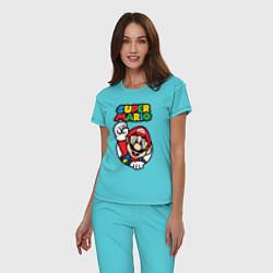 Пижама хлопковая женская Mario цвета бирюзовый — фото 2