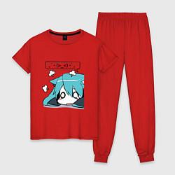 Пижама хлопковая женская Грусть цвета красный — фото 1