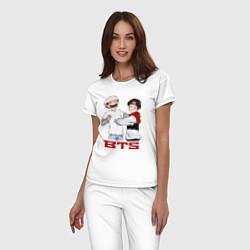 Пижама хлопковая женская BTS цвета белый — фото 2