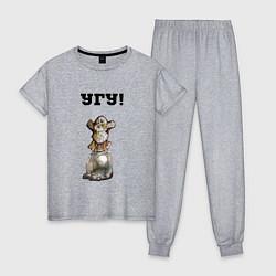 Пижама хлопковая женская Угу-сова смотрит цвета меланж — фото 1
