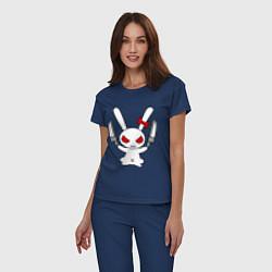 Пижама хлопковая женская Зайка с ножами цвета тёмно-синий — фото 2