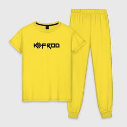 Пижама хлопковая женская Kefrod цвета желтый — фото 1