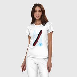 Пижама хлопковая женская Manchester City True Classics 202122 цвета белый — фото 2