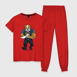 Пижама хлопковая женская ПИТБУЛЬ SECURITY Z цвета красный — фото 1