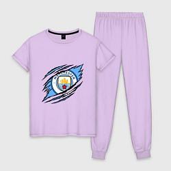 Пижама хлопковая женская MANCHESTER CITY МАНЧЕСТЕР цвета лаванда — фото 1