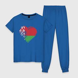 Пижама хлопковая женская Сердце Беларуси цвета синий — фото 1