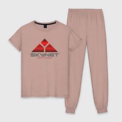 Пижама хлопковая женская Skynet цвета пыльно-розовый — фото 1