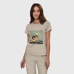 Пижама хлопковая женская Егор Крид PUSSY BOY цвета миндальный — фото 2