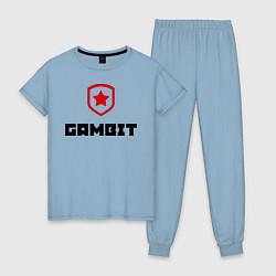 Пижама хлопковая женская Gambit цвета мягкое небо — фото 1