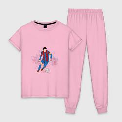 Пижама хлопковая женская Известный футболист цвета светло-розовый — фото 1