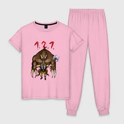 Пижама хлопковая женская Разнос на 121 цвета светло-розовый — фото 1