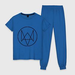 Пижама хлопковая женская Watch Dogs цвета синий — фото 1