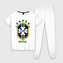 Пижама хлопковая женская Brasil CBF цвета белый — фото 1