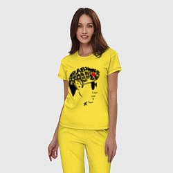Пижама хлопковая женская Arctic Monkeys Love цвета желтый — фото 2