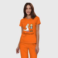 Пижама хлопковая женская Just married цвета оранжевый — фото 2