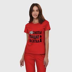 Пижама хлопковая женская Еноты тащат всегда цвета красный — фото 2
