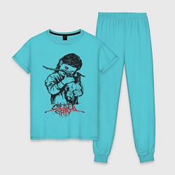 Пижама хлопковая женская Chelsea Grin: Demon Girl цвета бирюзовый — фото 1
