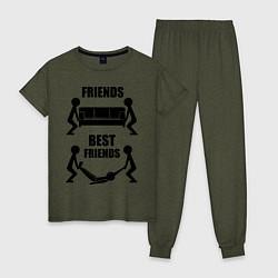Пижама хлопковая женская Best friends цвета меланж-хаки — фото 1