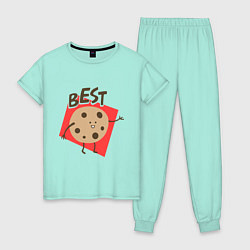 Пижама хлопковая женская Печенька цвета мятный — фото 1