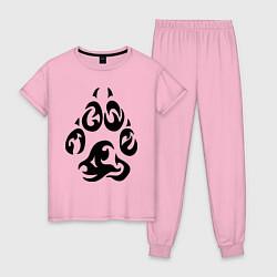 Пижама хлопковая женская Волчий след цвета светло-розовый — фото 1