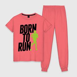 Пижама хлопковая женская Рожден для бега цвета коралловый — фото 1