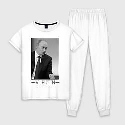Пижама хлопковая женская V. Putin цвета белый — фото 1