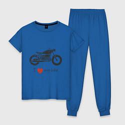 Пижама хлопковая женская Люблю свой байк цвета синий — фото 1